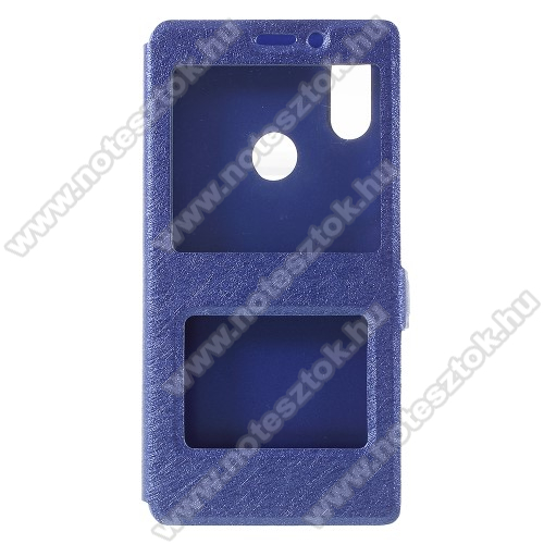 Műanyag védő tok / hátlap - SÖTÉTKÉK - oldalra nyíló ablakos flip cover, asztali tartó funkció, mágneses záródás, hívásfelvétel - Xiaomi Mi 8 SE