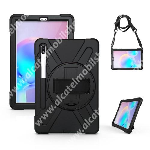 Műanyag védő tok / hátlap - szilikon betétes, kitámasztható, 360°-ban elforgatható csuklópánt, hevederrel - ERŐS VÉDELEM! - FEKETE - SAMSUNG SM-T860 Galaxy Tab S6 (Wi-Fi) / SAMSUNG SM-T865 Galaxy Tab S6 (LTE)