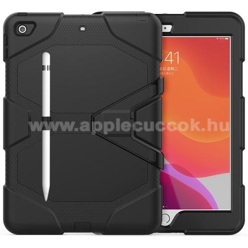 Műanyag védő tok / hátlap - szilikon betétes, kitámasztható, ceruza tartó - ERŐS VÉDELEM! - FEKETE - APPLE iPad 10.2 (7th Generation) (2019)