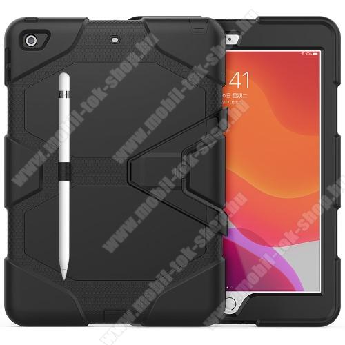 Műanyag védő tok / hátlap - szilikon betétes, kitámasztható, ceruza tartó - ERŐS VÉDELEM! - FEKETE - APPLE iPad 10.2 (7th Generation) (2019) / iPad 10.2 (8th Generation) (2020)
