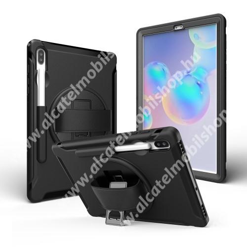 Műanyag védő tok / hátlap - szilikon betétes, kitámasztható, ceruza tartó - ERŐS VÉDELEM! - FEKETE - SAMSUNG SM-T860 Galaxy Tab S6 (Wi-Fi) / SAMSUNG SM-T865 Galaxy Tab S6 (LTE)