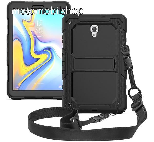 Műanyag védő tok / hátlap - szilikon betétes, kitámasztható, 360°-ban elforgatható, vállpánt - ERŐS VÉDELEM! - FEKETE - SAMSUNG SM-T590 Galaxy Tab A 10.5 Wi-Fi / SAMSUNG SM-T595 Galaxy Tab A 10.5 LTE
