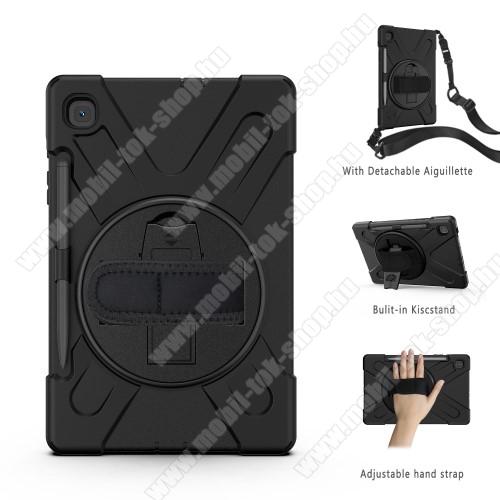 Műanyag védő tok / hátlap - szilikon betétes, kitámasztható, ceruza tartóval, kézpánttal és vállpánttal - ERŐS VÉDELEM! - FEKETE - SAMSUNG SM-P610 Galaxy Tab S6 Lite (Wi-Fi) / SM-P615 Galaxy Tab S6 Lite (LTE)