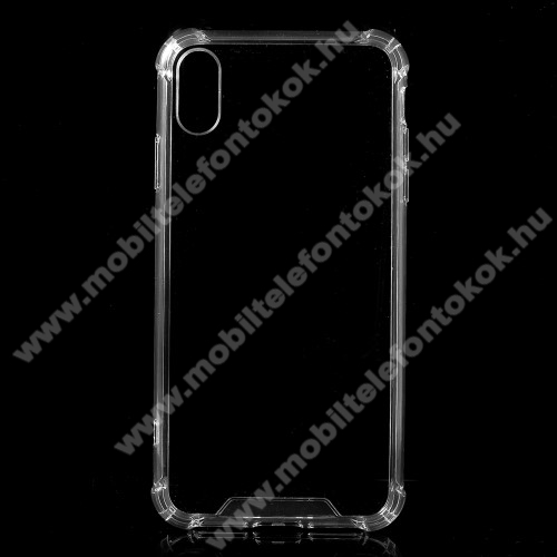 APPLE iPhone XrMűanyag védő tok / hátlap - szilikon szegély, erősített sarkok, ütődés álló - ÁTLÁTSZÓ - APPLE iPhone Xr
