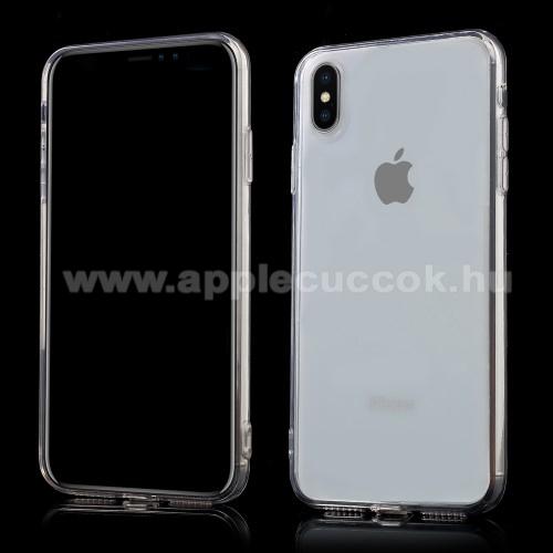 APPLE iPhone XS MaxMűanyag védő tok / hátlap - szilikon szegély, porvédő funkció - ÁTLÁTSZÓ - APPLE iPhone XS Max