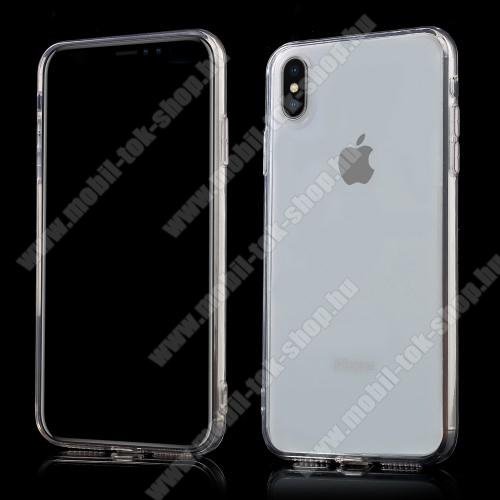 Műanyag védő tok / hátlap - szilikon szegély, porvédő funkció - ÁTLÁTSZÓ - APPLE iPhone XS Max