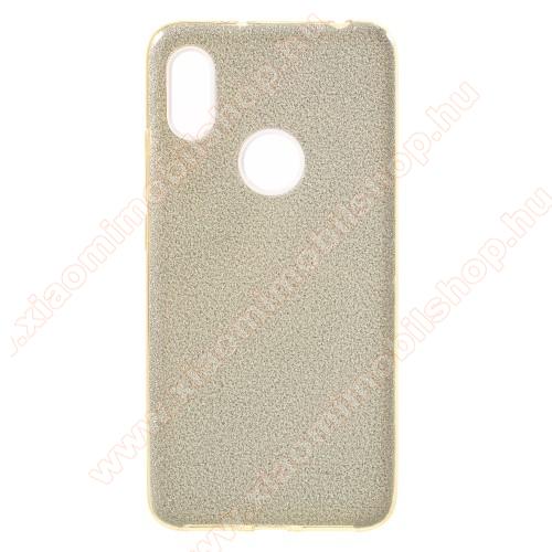 Műanyag védő tok / hátlap - szilikon szegély, csillogó, flitteres hátlap - ARANY - Xiaomi Redmi S2 / Xiaomi Redmi Y2