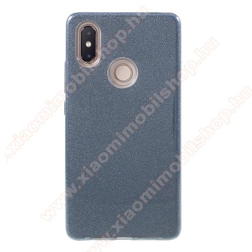 Műanyag védő tok / hátlap - szilikon szegély, csillogó, flitteres hátlap - SZÜRKE - Xiaomi Mi 8 SE