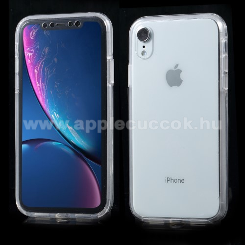 Műanyag védő tok / hátlap - szilikon szegély, előlap és hátlap védő is! - ÁTLÁTSZÓ - APPLE iPhone Xr
