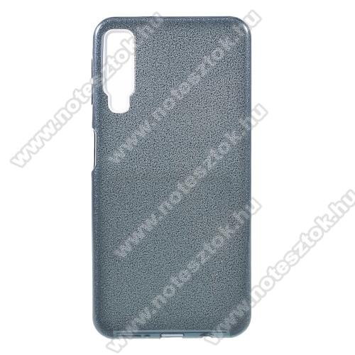 Műanyag védő tok / hátlap - szilikon szegély, csillogó, flitteres hátlap - KÉK - SAMSUNG SM-A750F Galaxy A7 (2018)