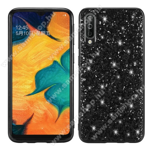 Műanyag védő tok / hátlap - szilikon szegély - CSILLOGÓ FLITTER MINTÁS - FEKETE - SAMSUNG SM-A307F Galaxy A30s / SAMSUNG SM-A505F Galaxy A50 / SAMSUNG Galaxy A50s