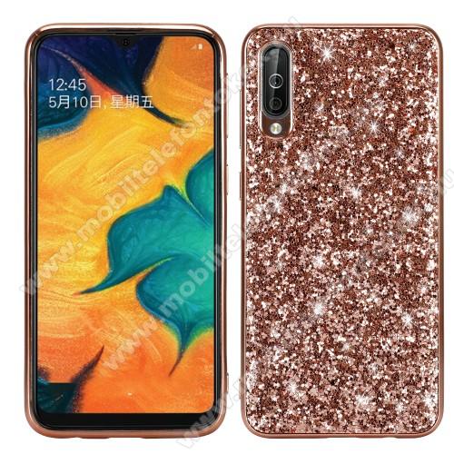 Műanyag védő tok / hátlap - szilikon szegély - CSILLOGÓ FLITTER MINTÁS - ROSE GOLD - SAMSUNG SM-A307F Galaxy A30s / SAMSUNG SM-A505F Galaxy A50 / SAMSUNG Galaxy A50s
