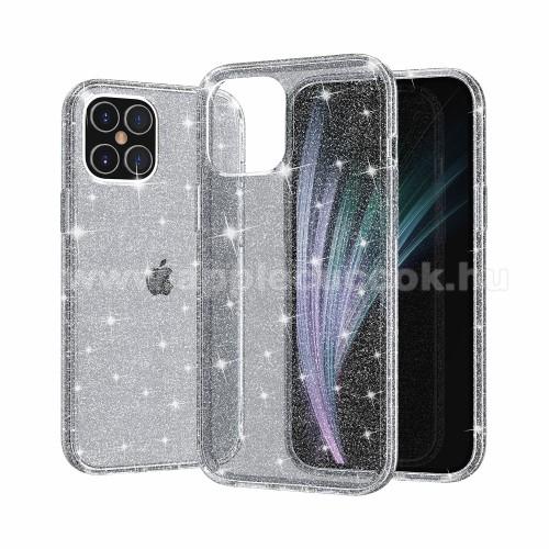 APPLE iPhone 12 ProMűanyag védő tok / hátlap - szilikon szegély - CSILLOGÓ FLITTER MINTÁS - SZÜRKE - APPLE iPhone 12 / APPLE iPhone 12 Pro