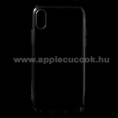 Műanyag védő tok / hátlap - SZÜRKE - szilikon szegély - APPLE iPhone X / APPLE iPhone XS