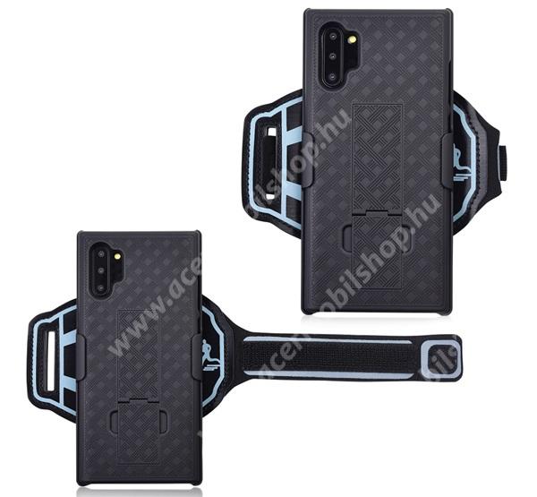 Műanyag védő tok / hátlap - ütésálló, Sport karpánt, sportoláshoz, kitámasztó, rács minta - FEKETE - SAMSUNG SM-N970F Galaxy Note10 / SAMSUNG SM-N971U Galaxy Note10 5G