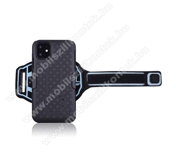 Műanyag védő tok / hátlap - ütésálló, Sport karpánt, sportoláshoz, kitámasztó, csíkos minta - FEKETE - APPLE iPhone 11 Pro