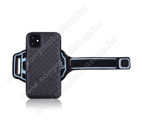 Műanyag védő tok / hátlap - ütésálló, Sport karpánt, sportoláshoz, kitámasztó, csíkos minta, bankkártya tartó - FEKETE - APPLE iPhone 11 Pro