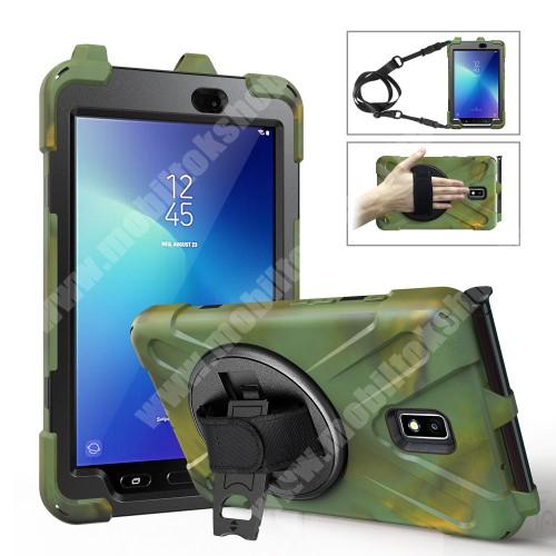 Műanyag védő tok / hátlap - X alakú, 3 rétegből áll, szilikon betétes, kitámasztható, 360°-ban elforgatható csuklópánt, hevederrel, ceruzatartó - ERŐS VÉDELEM! - SÖTÉTZÖLD - SAMSUNG Galaxy Tab Active 2 8.0 (SM-T395) / (SM-T390)