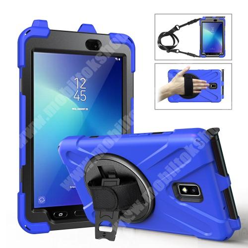Műanyag védő tok / hátlap - X alakú, 3 rétegből áll, szilikon betétes, kitámasztható, 360°-ban elforgatható csuklópánt, hevederrel, ceruzatartó - ERŐS VÉDELEM! - KÉK - SAMSUNG Galaxy Tab Active 2 8.0 (SM-T395) / (SM-T390)
