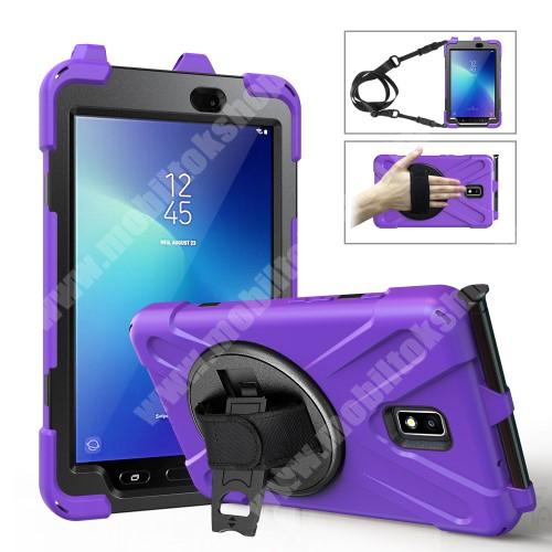 Műanyag védő tok / hátlap - X alakú, 3 rétegből áll, szilikon betétes, kitámasztható, 360°-ban elforgatható csuklópánt, hevederrel, ceruzatartó - ERŐS VÉDELEM! - LILA - SAMSUNG Galaxy Tab Active 2 8.0 (SM-T395) / (SM-T390)