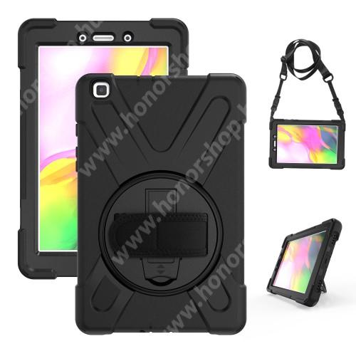 Műanyag védő tok / hátlap - X alakú, 3 rétegből áll, szilikon betétes, kitámasztható, 360°-ban elforgatható csuklópánt, hevederrel - ERŐS VÉDELEM! - FEKETE - SAMSUNG SM-T295 Galaxy Tab A 8.0 LTE (2019) / SAMSUNG SM-T290 Galaxy Tab A 8.0 Wi-Fi (2019)