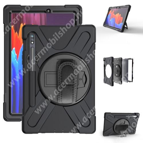 Műanyag védő tok / hátlap - X alakú, 3 rétegből áll, szilikon betétes, kitámasztható, 360°-ban elforgatható kézpánt, ceruzatartó - ERŐS VÉDELEM! - FEKETE - SAMSUNG Galaxy Tab S7 (SM-T870/T875/T876B)