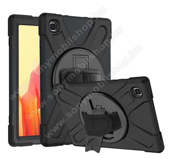 Műanyag védő tok / hátlap - X alakú, 3 rétegből áll, szilikon betétes, kitámasztható, 360°-ban elforgatható kézpánt - ERŐS VÉDELEM! - FEKETE - SAMSUNG Galaxy Tab A7 10.4 (2020) (SM-T500/SM-T505)