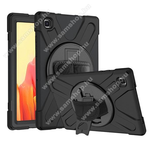 SAMSUNG Galaxy Tab A7 10.4 (2020) (SM-T500/SM-T505)Műanyag védő tok / hátlap - X alakú, 3 rétegből áll, szilikon betétes, kitámasztható, 360°-ban elforgatható kézpánt - ERŐS VÉDELEM! - FEKETE - SAMSUNG Galaxy Tab A7 10.4 (2020) (SM-T500/SM-T505)