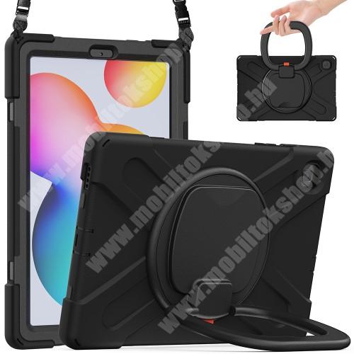 Műanyag védő tok / hátlap - X alakú, 3 rétegből áll, szilikon betétes, kitámasztható, 360°-ban elforgatható fogantyú, hevederrel - ERŐS VÉDELEM! - FEKETE - SAMSUNG SM-P610 Galaxy Tab S6 Lite (Wi-Fi) / SAMSUNG SM-P615 Galaxy Tab S6 Lite (LTE)