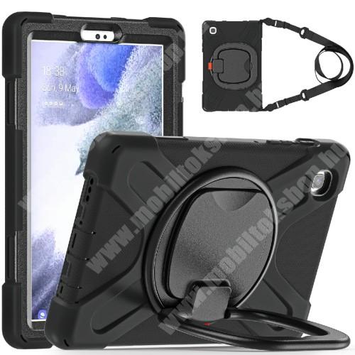 Műanyag védő tok / hátlap - X alakú, 3 rétegből áll, szilikon betétes, kitámasztható, 360°-ban elforgatható fogantyú, hevederrel - ERŐS VÉDELEM! - FEKETE - SAMSUNG Galaxy Tab A7 Lite (SM-T220 / SM-T225)