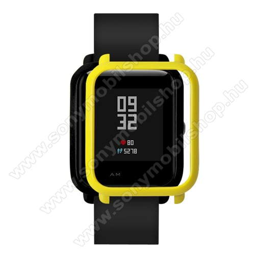 Műanyag védő tok / keret - CITROMSÁRGA - Xiaomi Amazfit Bip / Huami Amazfit Smart Watch Youth Edition