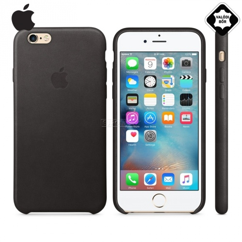 Műanyag védő tok / valódi bőr hátlap - LEATHER Case - FEKETE - MKXW2ZM/A - APPLE IPhone 6 4.7 / APPLE IPhone 6S 4.7 - GYÁRI