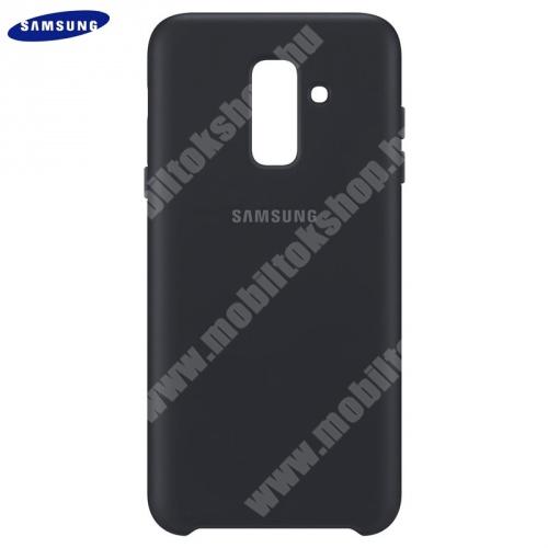 Műanyag védőtok (dupla rétegű, gumírozott) FEKETE - EF-PA605CBEGWW - Samsung Galaxy A6+ (2018) SM-A605F - GYÁRI