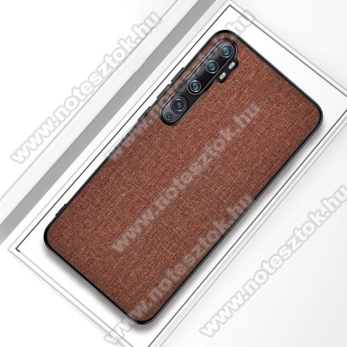 Műanyag védőtok / hátlap - BARNA - szilikon keret, szövettel bevont hátlap - Xiaomi Mi Note 10 / Xiaomi Mi Note 10 Pro / Xiaomi Mi CC9 Pro