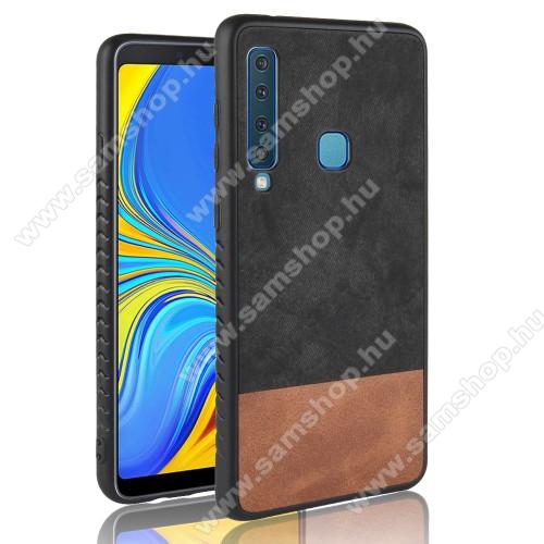 Műanyag védőtok / hátlap - FEKETE - szilikon keret, bőrhatású hátlap - SAMSUNG Galaxy A9 (2018)