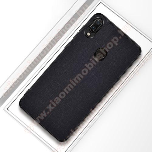 Xiaomi Redmi Note 7Műanyag védőtok / hátlap - FEKETE - szilikon keret, szövettel bevont hátlap - Xiaomi Redmi Note 7 / Xiaomi Redmi Note 7 Pro / Xiaomi Redmi Note 7S