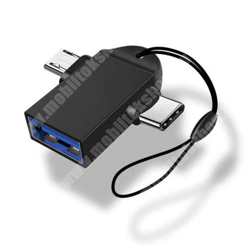 HomTom H17 Pro Multifunkciós 2 az 1-ben adapter USB 3.0 / Micro USB és Type-C OTG funkció - FEKETE