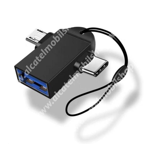 ALCATEL Idol 3 (5.5) Multifunkciós 2 az 1-ben adapter USB 3.0 / Micro USB és Type-C OTG funkció - FEKETE