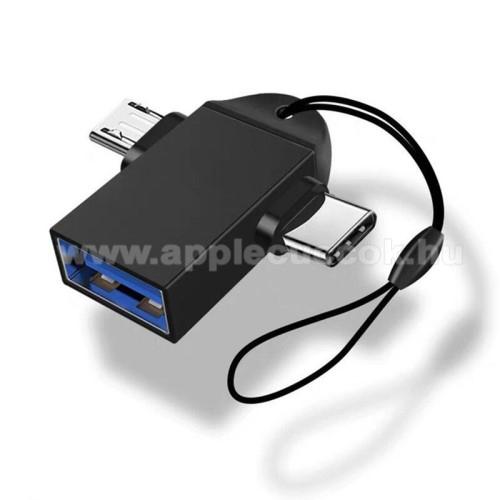 Multifunkciós 2 az 1-ben adapter USB 3.0 / Micro USB és Type-C OTG funkció - FEKETE