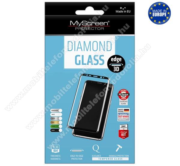 MYSCREEN DIAMOND GLASS EDGE előlap védő karcálló edzett üveg - FEKETE - 9H, 0.33 mm, 2.5D, A teljes felületén tapad! - A TELJES KIJELZŐT VÉDI! - Xiaomi Mi Note 10 / Xiaomi Mi Note 10 Pro / Xiaomi Mi CC9 Pro - GYÁRI