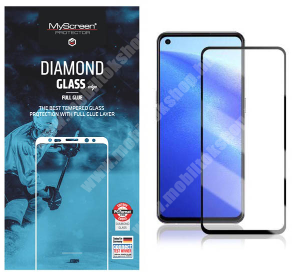 MYSCREEN DIAMOND GLASS EDGE előlap védő karcálló edzett üveg - FEKETE - 9H, 0.33 mm, 2.5D, A teljes felületén tapad, a teljes kijelzőt védi - Oppo Reno5 K / Reno5 4G / Reno5 5G / Find X3 Lite - GYÁRI