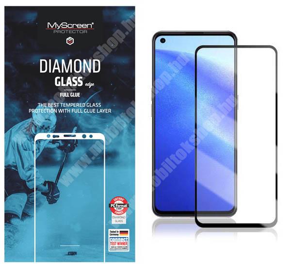 MYSCREEN DIAMOND GLASS EDGE előlap védő karcálló edzett üveg - FEKETE - 9H, 0.33 mm, 2.5D, A teljes felületén tapad, a teljes kijelzőt védi - Oppo Reno5 Z 5G / F19 Pro Plus 5G / A94 5G / Reno5 F - GYÁRI