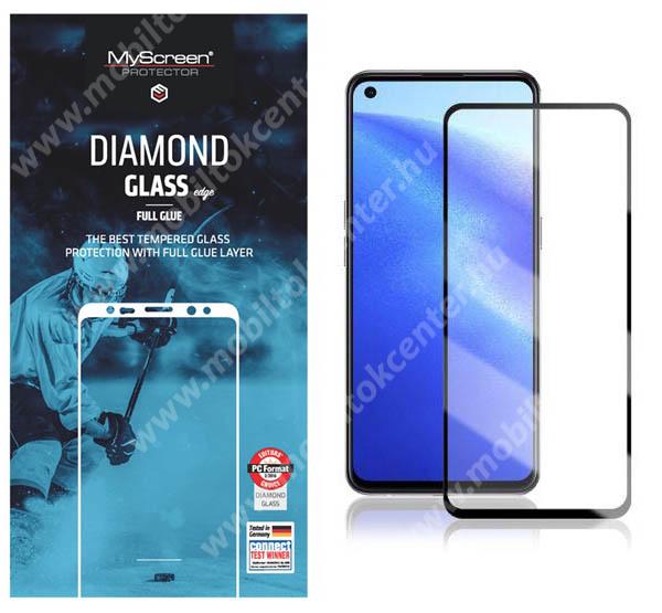 MYSCREEN DIAMOND GLASS EDGE előlap védő karcálló edzett üveg - FEKETE - 9H, 0.33 mm, 2.5D, A teljes felületén tapad, a teljes kijelzőt védi - Oppo Reno5 Z 5G / F19 Pro / F19 Pro Plus 5G / A94 5G / Reno5 F / A94 4G - GYÁRI