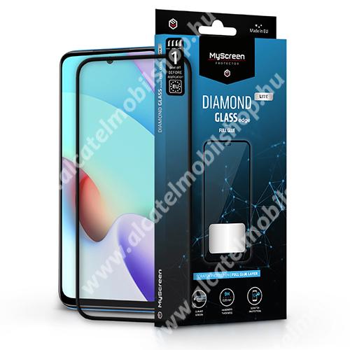 MYSCREEN DIAMOND GLASS EDGE előlap védő karcálló edzett üveg - FEKETE - 9H, 0.33 mm, 2.5D, A teljes felületén tapad, a teljes kijelzőt védi - Xiaomi Redmi 10 / Redmi 10 Prime - GYÁRI