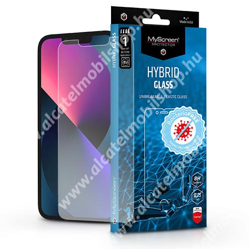 MYSCREEN DIAMOND HYBRIDGLASS BacteriaFREE flexibilis üvegfólia - 0,15 mm vékony, 1db, törlőkendővel, 8H, antibakteriális, a képernyő sík részét védi - ÁTLÁTSZÓ - APPLE iPhone 13 Pro Max - GYÁRI
