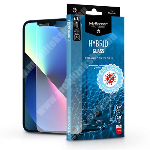 MYSCREEN DIAMOND HYBRIDGLASS BacteriaFREE flexibilis üvegfólia - 0,15 mm vékony, 1db, törlőkendővel, 8H, antibakteriális, a képernyő sík részét védi - ÁTLÁTSZÓ - APPLE iPhone 13 / iPhone 13 Pro - GYÁRI