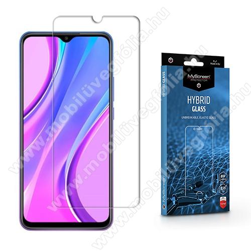 MYSCREEN HYBRIDGLASS Flexible 8H rugalmas edzett üveg képernyővédő fólia, 0,15 mm vékony, a képernyő sík részét védi - ÁTLÁTSZÓ - Xiaomi Redmi 9 / Redmi 9A / Redmi 9AT / Redmi 9C / Redmi 9C NFC - GYÁRI