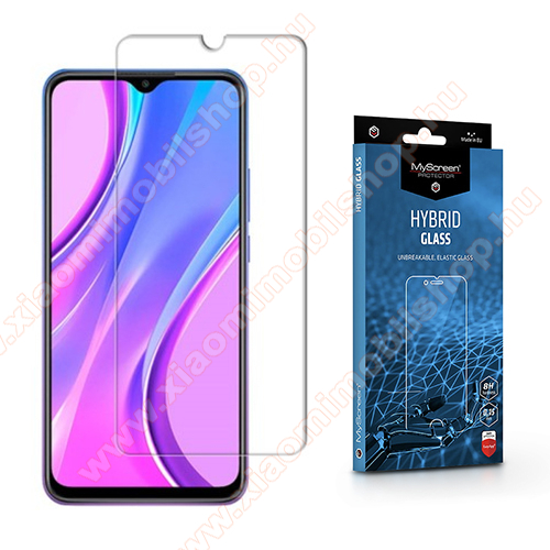 MYSCREEN HYBRIDGLASS Flexible 8H rugalmas edzett üveg képernyővédő fólia, 0,15 mm vékony, a képernyő sík részét védi - ÁTLÁTSZÓ - Xiaomi Redmi 9 / Redmi 9 Prime - GYÁRI