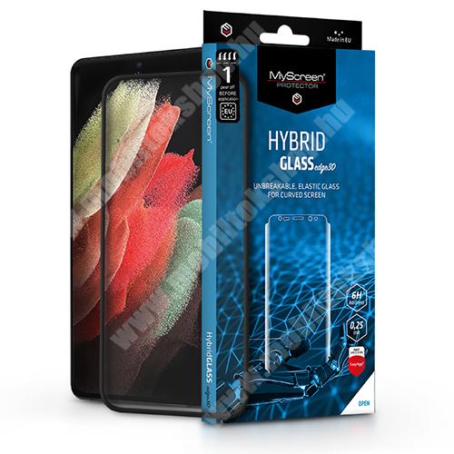 MYSCREEN HYBRIDGLASS Flexible 8H rugalmas edzett üveg képernyővédő fólia, 0,15 mm vékony, A TELJES KIJELZŐT VÉDI! - FEKETE - SAMSUNG Galaxy S21 Ultra 5G (SM-G998B/SM-G998B/DS) - GYÁRI