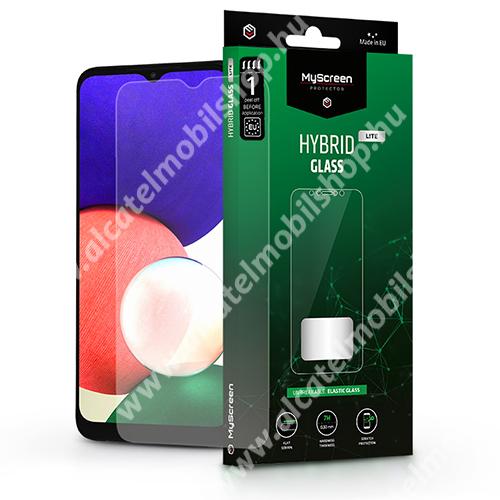 MYSCREEN HYBRIDGLASS Lite Flexible 7H rugalmas edzett üveg képernyővédő fólia, 0,15 mm vékony, a képernyő sík részét védi - ÁTLÁTSZÓ - SAMSUNG Galaxy A22 5G (SM-A226) / Galaxy F42 5G (SM-E426B/DS) - GYÁRI
